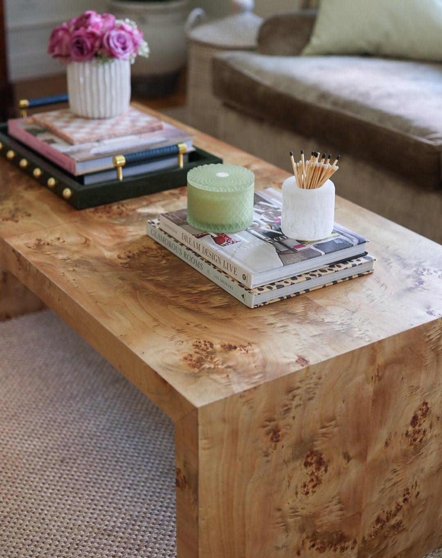 A Glass of Bovino Burl Table