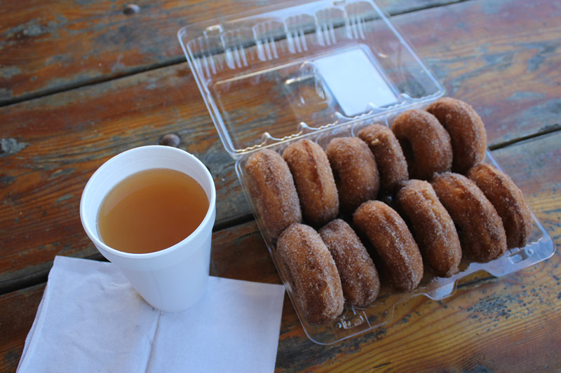 Orchard donuts and cider